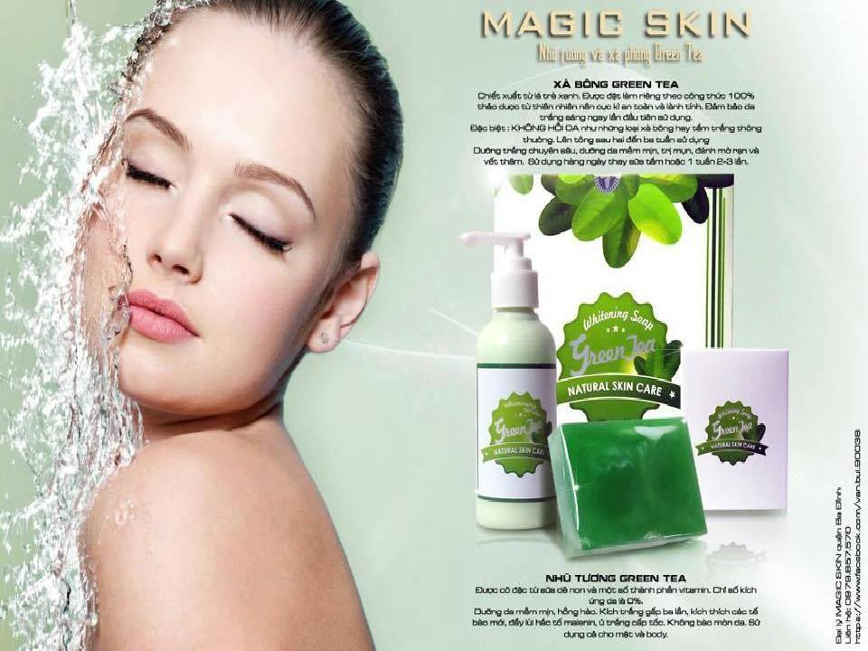 Combo xà bông tắm trắng Green tea và nhũ tương Magic Skin